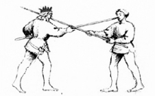 Szene aus dem Fechtbuch von Fiore dei Liberi